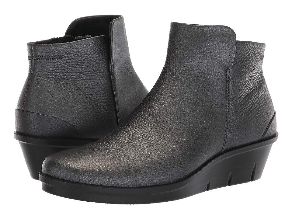 ECCO Skyler Wedge Bootie (Black/Dark Silver Cow Leather) Women