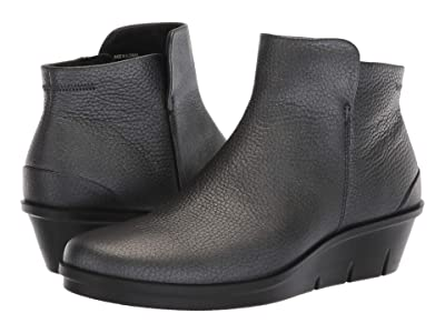 ECCO Skyler Wedge Bootie (Black/Dark Silver Cow Leather) Women