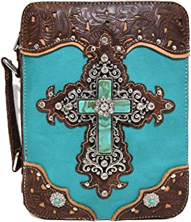 Western Retro Rhinestone Turquoise Tooled Embroidery Cross Bible Cover Bag Messenger Bag
