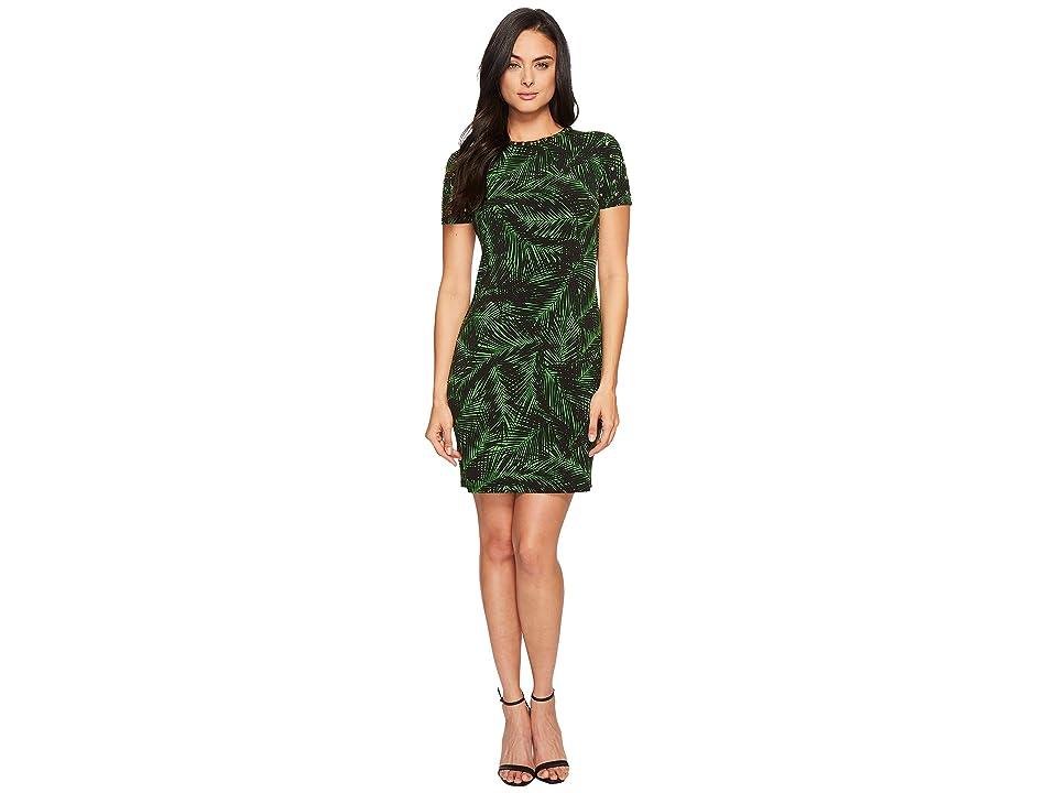 MICHAEL Michael Kors Abstract Palm Dome Stud Dress (Bright Palm/Black) Women