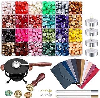Kit Cire a Cacheter 600 Pièces Cachet de Cire - 600 Perles de Sceau en Cire et Tampon Cire Personnalisé avec 1 cuillère et...