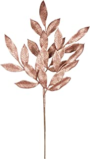 "Vickerman L152958 Glitter Bay Leaf Spray 12 to a Bag, 22"", Rose Gold"