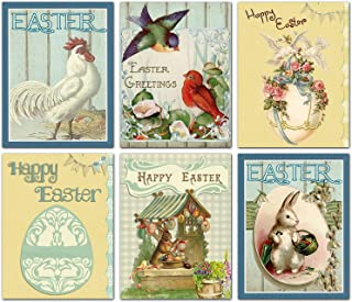 Happy Easter Blank Note Cards - Greeting Cards with Envelopes - 6 Unique Designs - 5.5