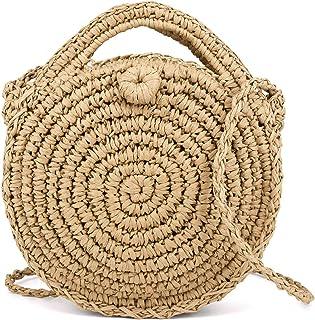 Women Round Straw Beach Bag Handwoven Summer Rattan Bag Cross Body Bag Shoulder Bag