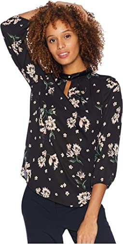 Long Floral Printed Blouse w/ Velvet Trim