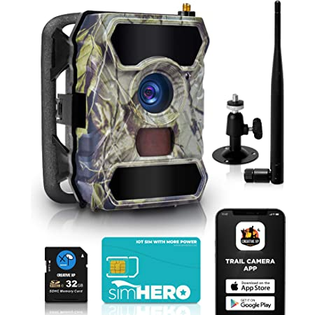 CREATIVE XP Cellular Trail Cameras – Outdoor WiFi Full HD Wild Game 3G Camera with Night Vision for Deer Hunting, Security - Wireless Waterproof and Motion Activated – 32GB SD Card + Sim Card (1-Pack)