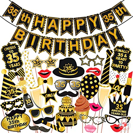 Wobbox 35th Birthday Photo Booth Party Props Black & Golden with 35th Birthday Bunting Banner, Birthday Party Decoration, Birthday Party Item, Birthday Party Props