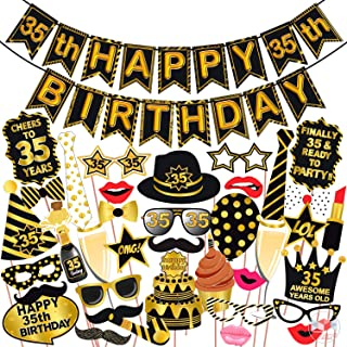 Wobbox 35th Birthday Photo Booth Party Props Black & Golden with 35th Birthday Bunting Banner, Birthday Party Decoration, ...