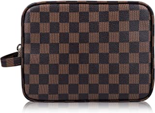 AMRA Luxury Checkered Make Up Bag | PU Vegan Leather Cosmetic Toiletry Organizer Travel Cases Portable Makeup Bag for Women | Size: 8.2