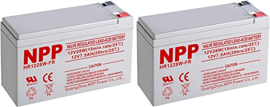 NPPower High Rate HR1228W 12V 7.5Ah SLA Sealed Lead Acid UPS Battery with F2 Style Terminals / (2pcs)