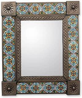 NOVICA Flora Tin and Ceramic Wall Mounted Mirror, Blue, Talavera Marigold'