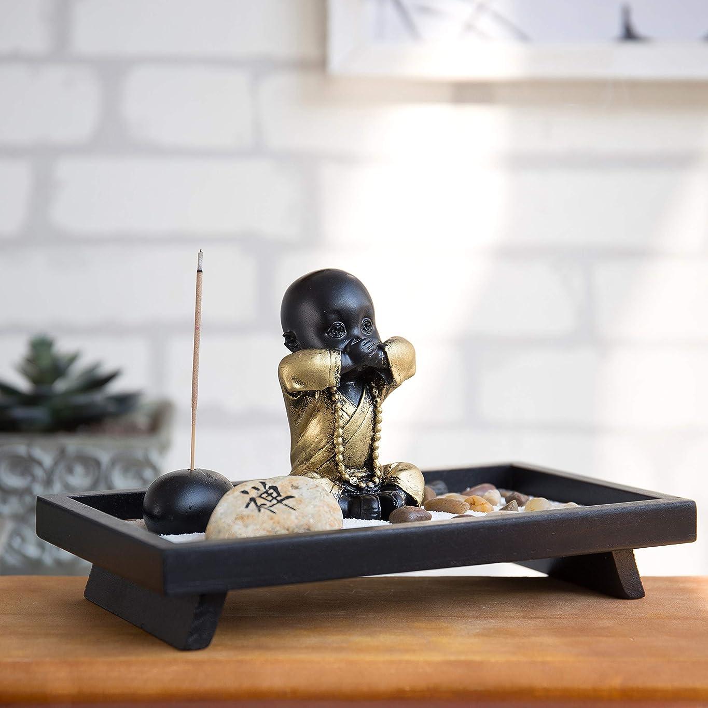 自動接地マーカーMyGift 仏像とお香立て付き卓上禅の庭