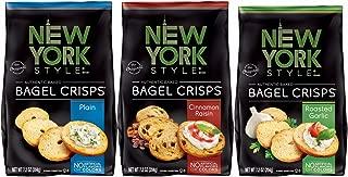New York Style Bagel Crisps PLAIN, GARLIC, CINNAMON RAISIN - (Pack of 3) Convenient Variety - 7.2 ounce
