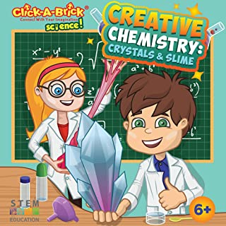Click-A-Brick Creative Chemistry Crystals & Slime Science Kit for Kids Toys | 30 Pages of Learning w/ 11 Fun Educational STEM Experiments | Best Kids Chemistry Set For Boys & Girls Age 6 7 8+ Year Old