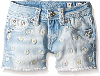 Miss Me Little Girls Daisy Embroidered Denim Shorts, Light