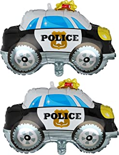 2 Pcs Police Car Shape Super Big Foil Balloon Birthday Party Decorations Supplies