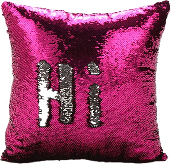 Ocosy Reversible 2 Colors Mermaid Pillow Case Sequins Pillow Cases Sofa Couch Cushion Cover Throw Pillow Case NO Insert Hot Pink Silver
