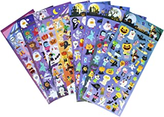 Happy Halloweens Stickers 8 Sheets with Ghost, Pumpkin, Demon, Wizard, Mummy, Vampire, Witch, Skull, Bat, Spider Stickers Deacals for Jack O Lantern Scrapbooking Kids Party Favors - 320 Stickers