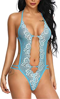 Women Sexy Teddy Lingerie Floral Lace Babydoll V Neck Strappy Bodysuits