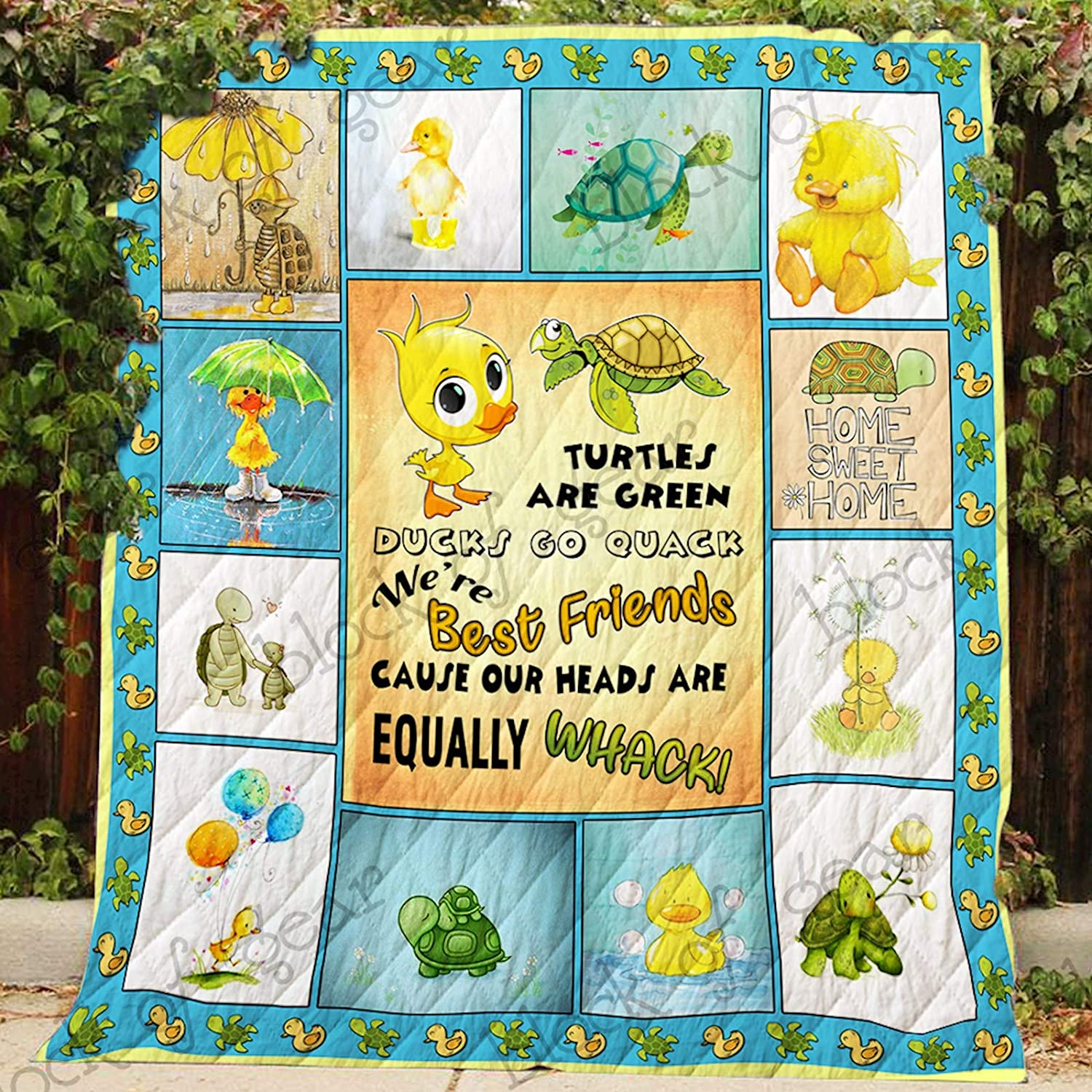 Duck and Turtle Bestfriend Quilt P453, Queen All-Season Quilts Comforters with Reversible Cotton King Queen Twin Size - Best Decorative Quilts-Unique Quilted for Gifts