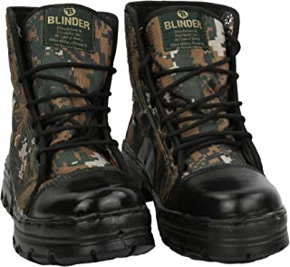 Blinder Mens Black Green Jungle DMS Lace-Up Derby Boots