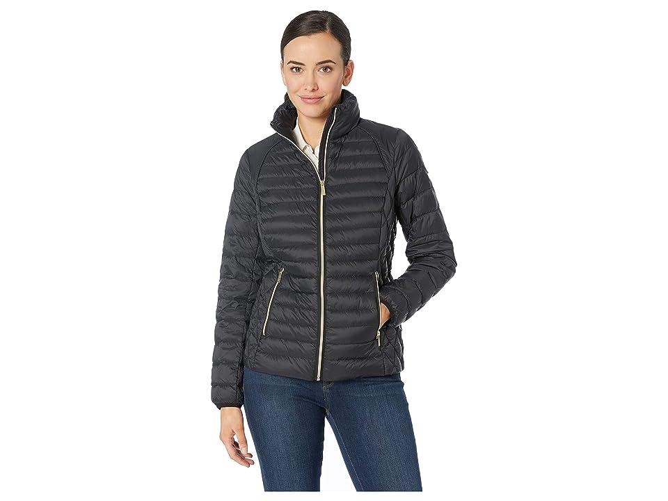 MICHAEL Michael Kors Zip Front Stand Collar Packable M822669M (Black) Women