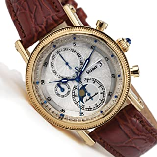 Stauer Men's Watchmaker 27 Jewel Automatic Watch with Leather Band