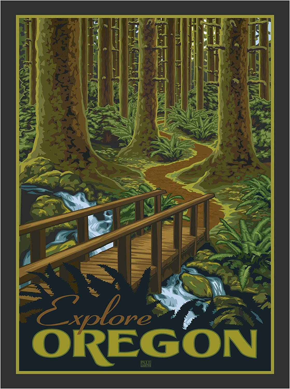shop Oregon Giclee Art Print Dedication Poster from by Artwork Pau Travel Artist