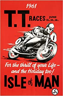 Spiffing Prints Isle of Man TT Motorcycle Racing Poster - Extra Large - Matte - Framed