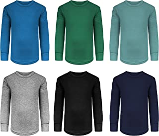Boys/Toddler 6 Pack Athletic Performance Long Sleeve Undershirt Tops/Base Layer Cotton Stretch Shirts