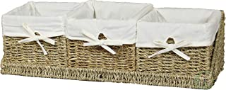 Vintiquewise(TM) Seagrass Shelf Basket with Tray (Set of 3)