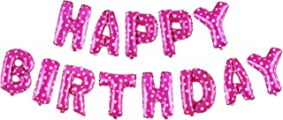 Treasures Gifted 16 Inch Pink Happy Birthday Balloons Aluminum Foil Banner Set of Air Filled Inflated Letter Mylar Celebrations Decor for a Princess Bachelorette Celebration