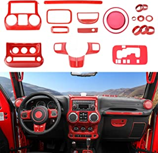 RT-TCZ Full Set Interior Decoration Trim Kit,Trim For Jeep Wrangler JK JKU 2011-2017 4 Door (Red 21PCS)