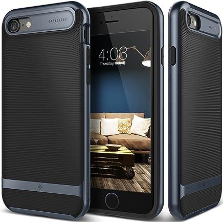Caseology Wavelength for iPhone 8 Case (2017) / iPhone 7 Case (2016) - Stylish Grip Design - Black/Deep Blue