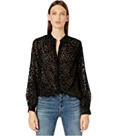The Kooples - Button Down Shirt with Voluminous Sleeves in a Burnout Leopard Print
