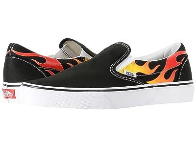 Vans Classic Slip-On ((Flame) Black/Black/True White) Skate Shoes