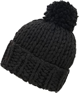 Arctic Paw Womens Super Soft Warm Chunky Cable Faux Fur Pompom Knit Beanie Hat