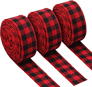 3 Rolls Red and Black Buffalo Plaid Ribbon Christmas Wired Edge Ribbon Check Burlap Ribbon for Gift Wrapping, Crafts Decoration (1.34 by 315 Inches)