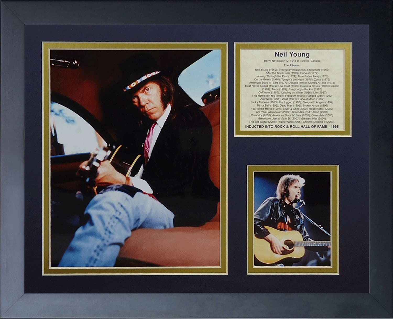 Legends Never Die Neil Young  Framed Photo Collage, 11 x 14Inch
