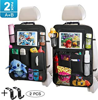 Tocode Backseat Car Organizer with Touch Screen Tablet Holder Tissue Box 2 Pack, Car Seat Protector Kick Mats Multi Storage Pockets for Kids Toy Book Bottle Baby Travel Accessories with Headrest Hook