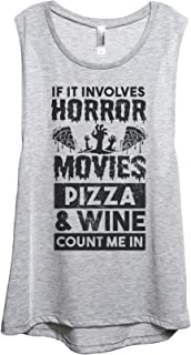 Horror Movies Pizza and Wine Women's Fashion Sleeveless Muscle Tank Top Tee