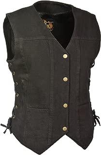 Milwaukee Leather Women's Denim 6 Pocket Vest with Side Lace (Black, Medium)