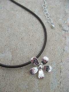 Leather Sterling Silver Flower Necklace Adjustable Artisan Jewelry