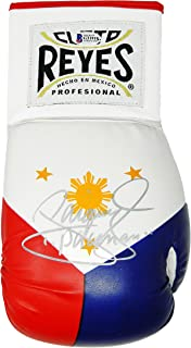 Manny 'Pacman' Pacquiao Signed Cleto Reyes Philippines Flag Logo White Boxing Glove (Beckett)