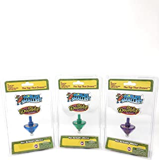 World's Smallest Toys Doodletop Set of 3 - Blue - Purple - Green