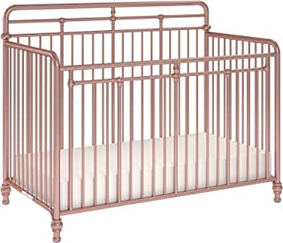 Little Seeds Monarch Hill Hawken 3 in 1 Convertible Metal Crib, Rose Gold
