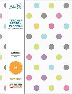 Blue Sky 2019-2020 Academic Year Teachers Monthly Lesson Planner, Stapled, Flexible Cover 8.5