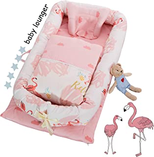 DOLDOA Baby Bassinet for Bed Portable Baby Lounger for Newborn,100% Cotton Newborn Portable Crib,Breathable and Hypoallergenic Sleep Nest Newborn Lounger Pillow for Bedroom/Travel (Flamingo)