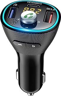 Cocoda FM Transmitter Auto Bluetooth, Bluetooth 5.0 Adapter Auto mit Deep Bass, PD18W & QC3.0 Schnellladung & Blau Umgebungslicht, Unterstützt USB Stick, Freisprecheinrichtung, Siri, Google Assistent