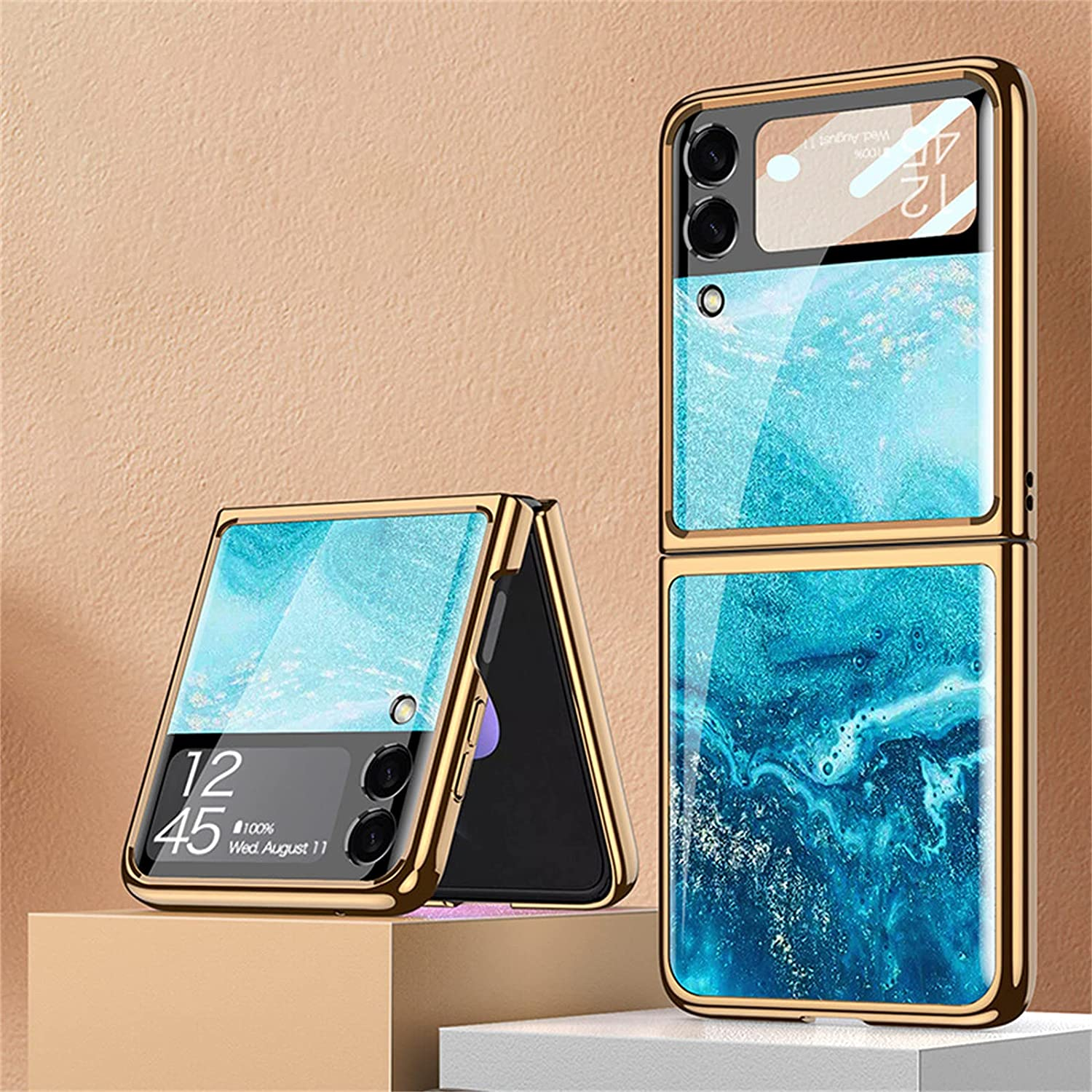 Suitable for Samsung Galaxy Z Flip 3 5G Luxury Phone Case, Tempered Glass Bumper Flip Protector for Galaxy Z Flip 3 5G 2021 (Artistry,A)
